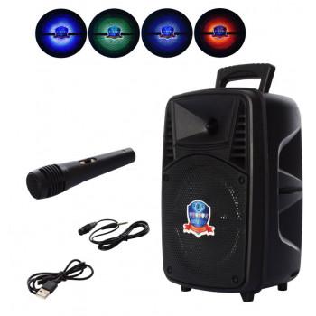 Портативная колонка Bluetooth с микрофоном Loudspeaker черная со световыми эффектами PK-07