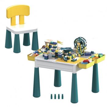 Игровой столик 6в1 San jia le hai Аттракционы, с конструктором и стульчиком GM6303